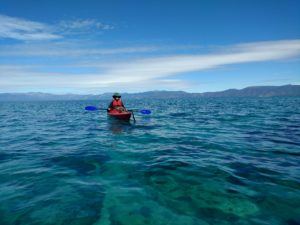 lone kayaker on Lake Tahoe